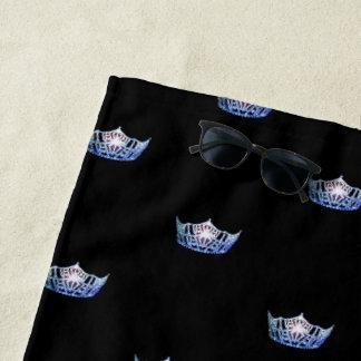 Toalla de playa azul de la corona de Srta. América