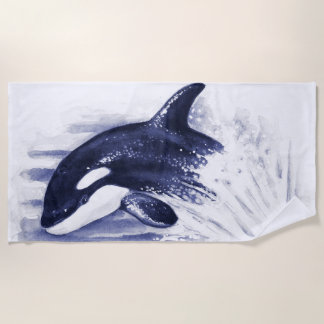 Toalla De Playa Azul de salto de la orca