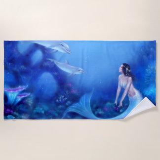 Toalla De Playa Azul de ultramar - sirena y delfínes