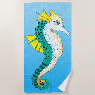 Toalla De Playa Azul verde azulado lindo del vitral del Seahorse