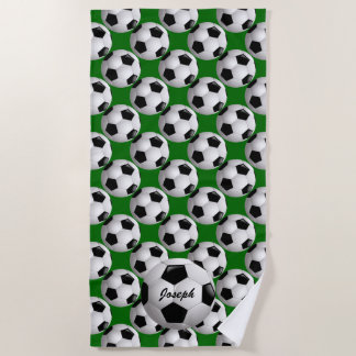 Toalla De Playa Balón de fútbol personalizado en modelo del fútbol