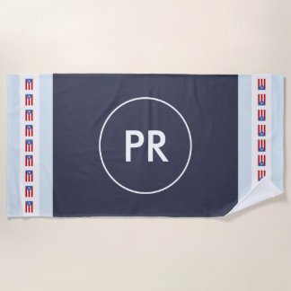Toalla De Playa Bandera personalizada de Puerto Rico del monograma