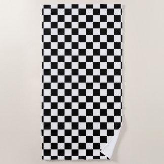 Toalla De Playa Blanco a cuadros clásico del negro del control del