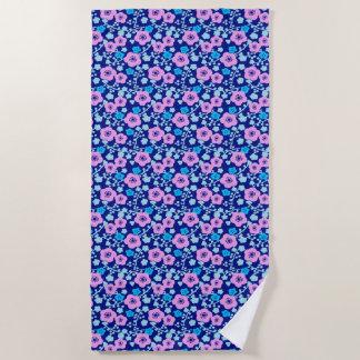 Toalla De Playa Ciruelo japonés rico del estampado de flores azul