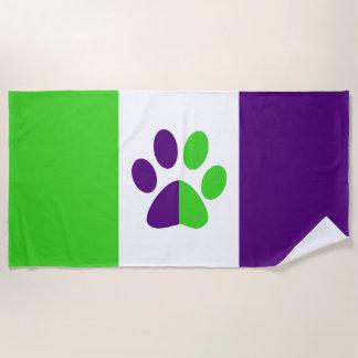 Toalla De Playa Color-Bloque [púrpura y verde] de las rayas