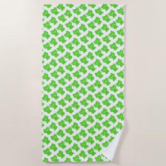 Toalla De Playa Corte el modelo verde y blanco de las ranas
