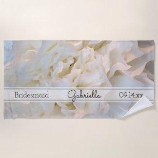 Toalla De Playa Dama de honor floral del boda del clavel blanco