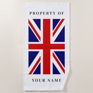 Toalla de playa de encargo de la bandera británica