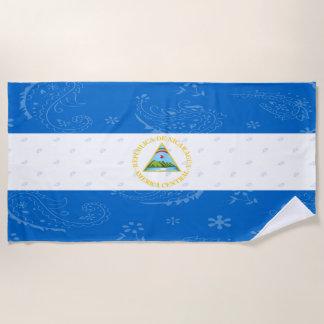 Toalla de playa de la bandera de Nicaragua