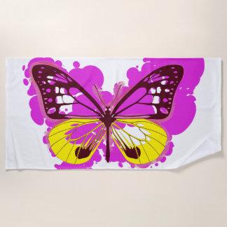 Toalla de playa de la mariposa del rosa del arte