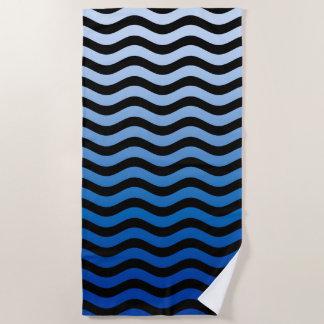 Toalla De Playa Decoración ondulada de las rayas azules en a