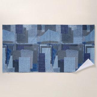 Toalla De Playa Dril de algodón azul Shibori del remiendo de Boro