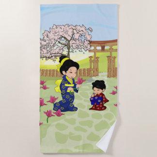 Toalla De Playa Ejemplo lindo del estilo japonés