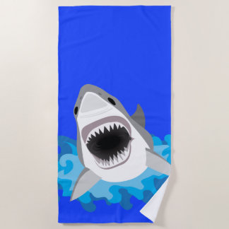Toalla De Playa El tiburón salta del buceador de las ondas