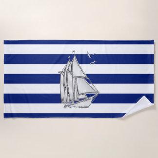 Toalla De Playa El velero en la marina de guerra náutica raya la