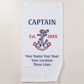 Toalla De Playa Engranaje personalizado del capitán del capitán
