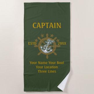 Toalla De Playa Equipo personalizado del capitán del capitán
