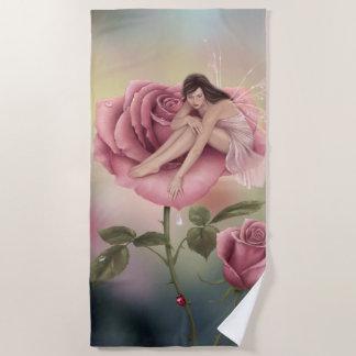 Toalla De Playa Hada color de rosa de la flor