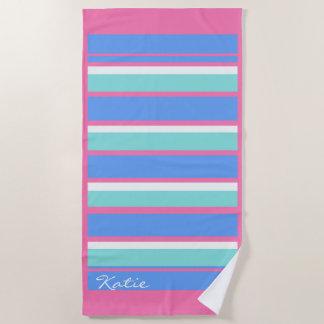 Toalla De Playa ID404 rosado/azul horizontal de las rayas y de la