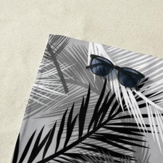 Toalla De Playa Impresión de hoja de palma, gris/gris, blanco y