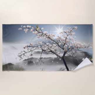 Toalla de playa japonesa del paisaje de la cereza