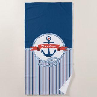 Toalla De Playa La cinta náutica de la cuerda del ancla raya el