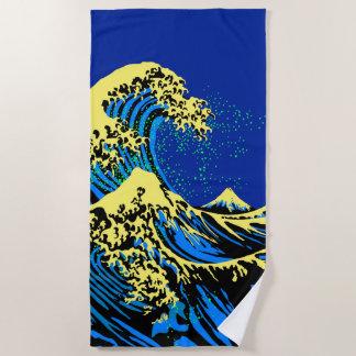 Toalla De Playa La gran onda de Hokusai en estilo amarillo azul