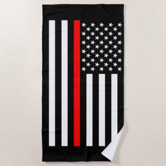 Toalla De Playa Línea roja fina simbólica gráfico de la bandera de