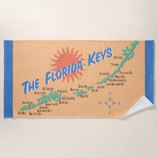 Toalla De Playa Mapa de la diversión de las llaves de la Florida