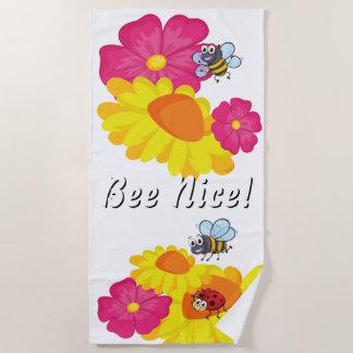 Toalla De Playa Mariquita divertida de las abejas y abeja colorida