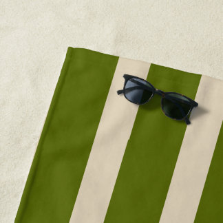 Toalla De Playa moda grande beige y rayas verdes cones monograma