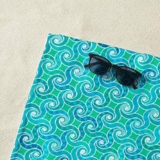 Toalla De Playa Modelo abstracto del remolino - verde del azul, de