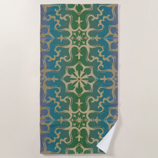 Toalla De Playa Modelo azul de la mandala del oro verde