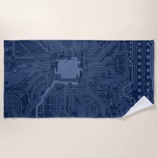 Toalla De Playa Modelo azul del circuito de la placa madre del