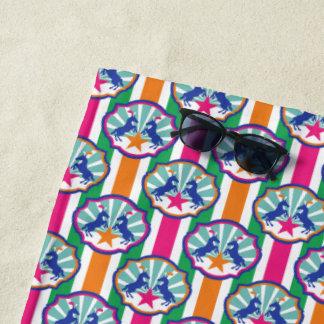 Toalla De Playa Modelo colorido de la raya de los potros de la