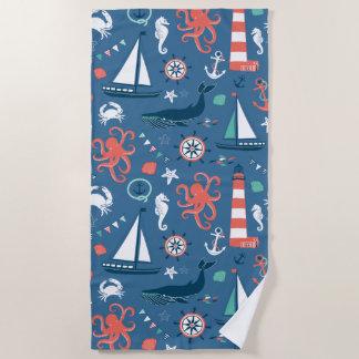 Toalla De Playa Modelo náutico blanco y azul rojo