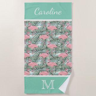 Toalla De Playa Modelo rosado de encargo de las hojas de palma de