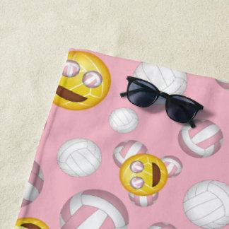 Toalla De Playa modelo sonriente del emoji del voleibol del chica