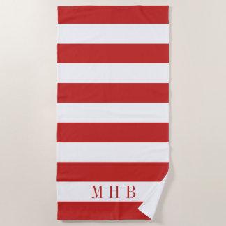 Toalla De Playa Monograma blanco y rojo de la raya