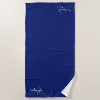 Toalla De Playa monograma elegante elegante en azul profundo