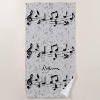 Toalla De Playa Notas musicales negras y grises personalizadas