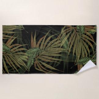 Toalla De Playa Oro y plátano y hojas de palma verdes