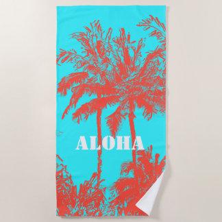 Toalla De Playa Palmas incompletas hawaianas Turq de la playa de