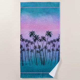 Toalla De Playa palmeras de la Púrpura-turquesa