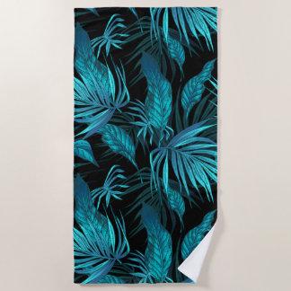 Toalla De Playa Plátano verde azulado y hojas de palma de la