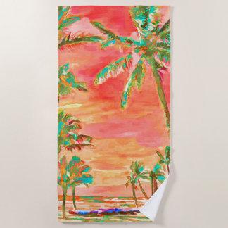 Toalla De Playa Playa hawaiana del vintage de PixDezines/naranja