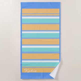 Toalla De Playa Rayas y azul de la frontera/oro horizontales ID404