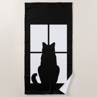 Toalla De Playa Silueta del gato de la ventana