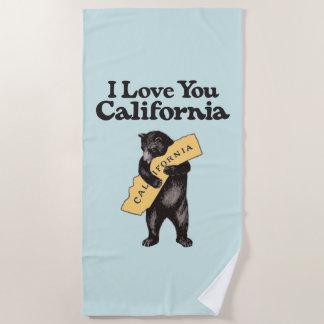 Toalla De Playa Te amo, ilustracion del vintage de California