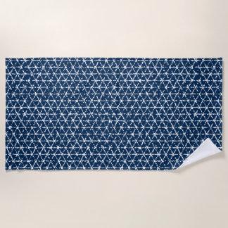 Toalla De Playa Tessellation geométrico de Shibori de los azules